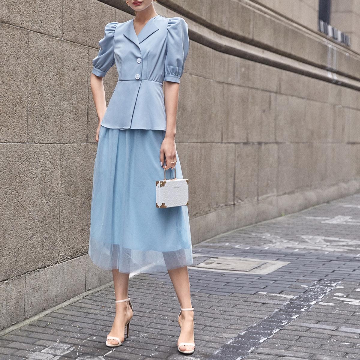 Однобортное сетчатое платье с пышным рукавом