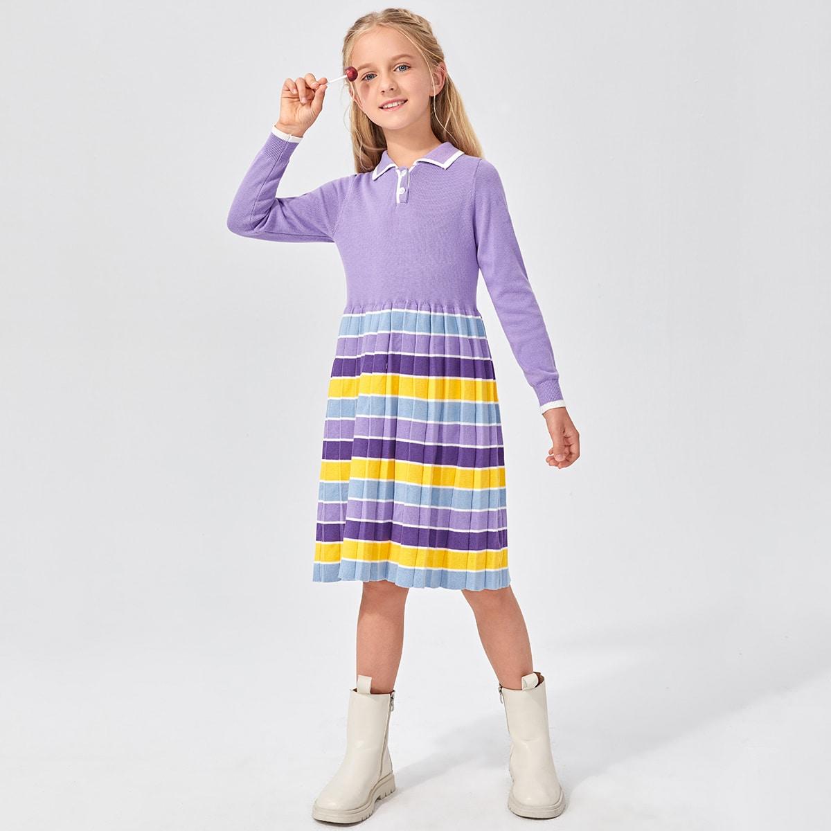 Плиссированное платье-свитер в полоску с пуговицами для девочек