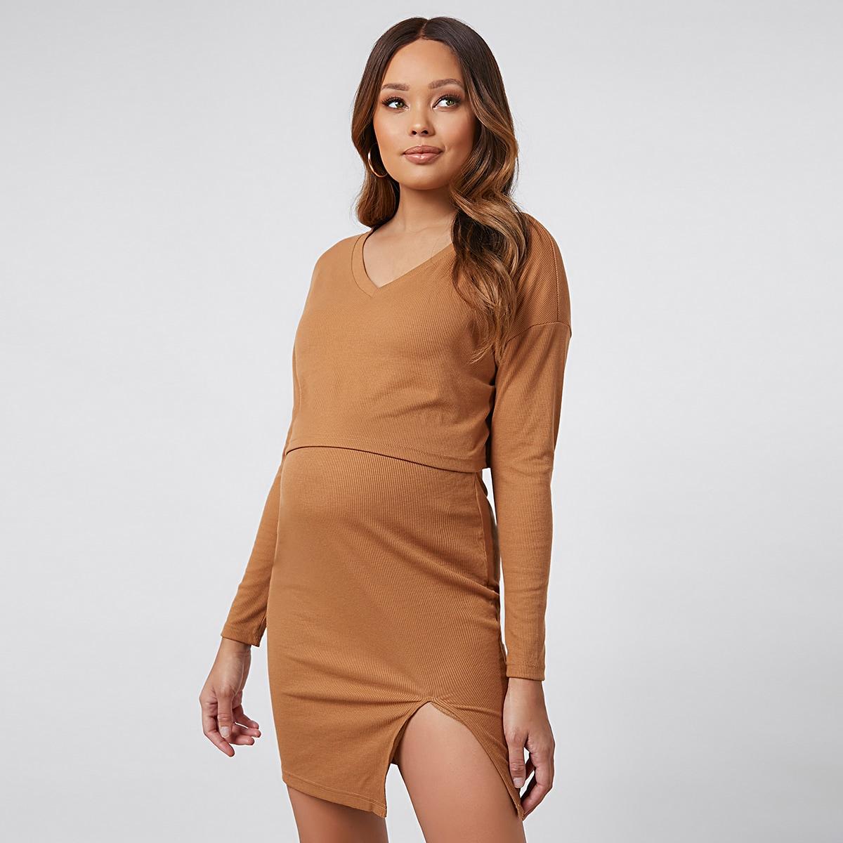 Кроп-футболка и юбка с разрезом для беременных