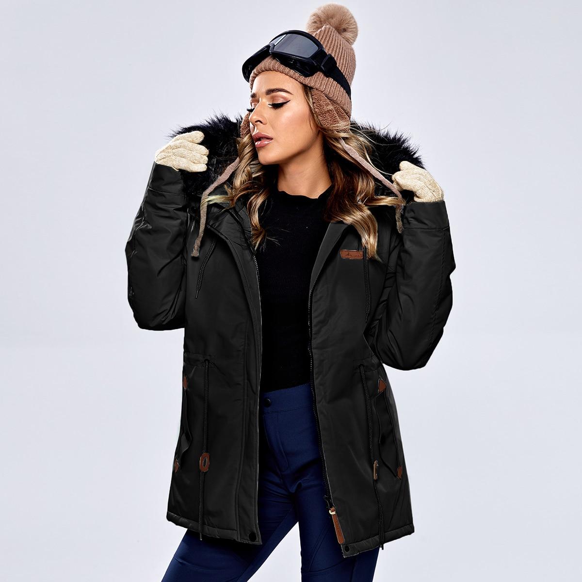 Водонепроницаемая спортивная куртка с капюшоном и искусственным мехом