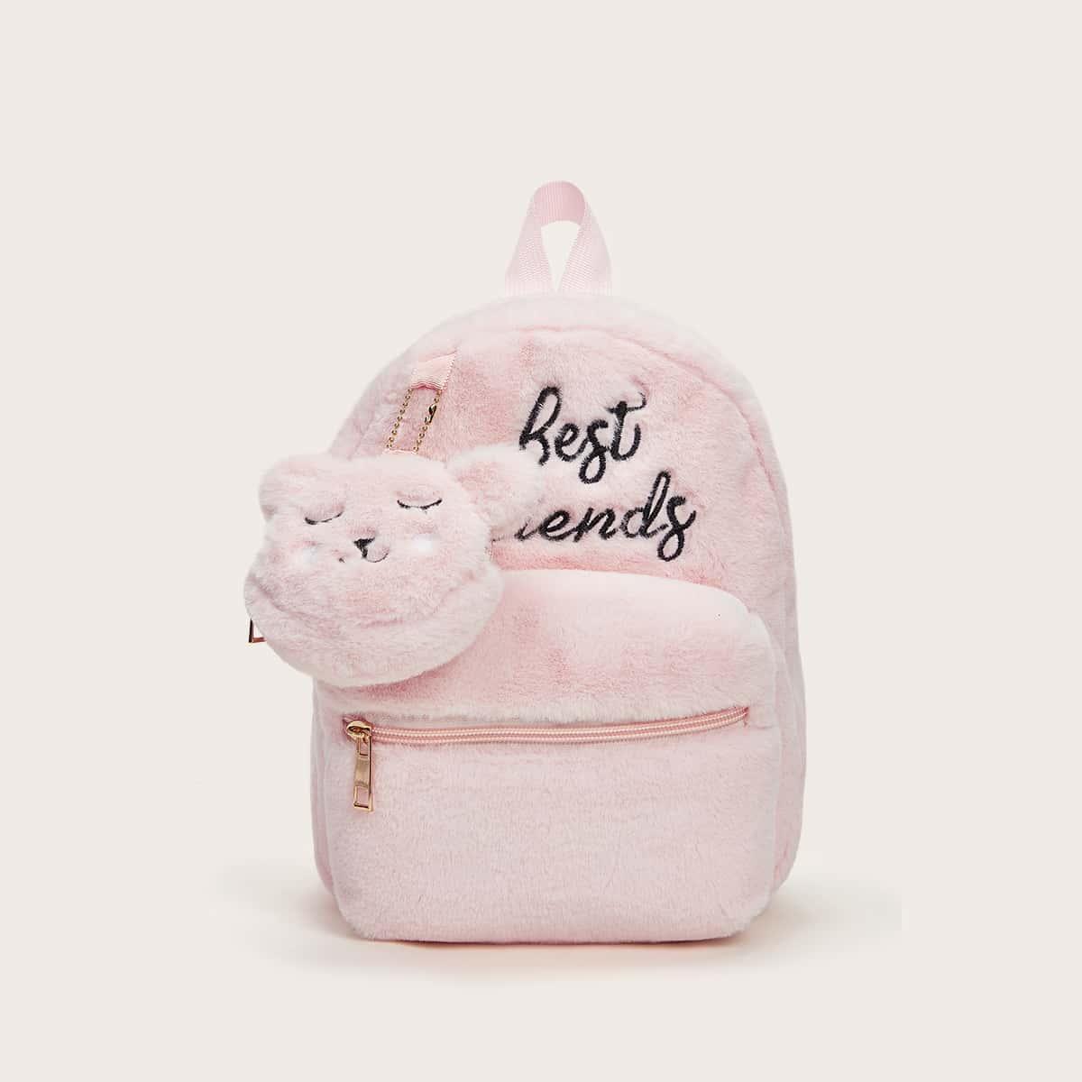 Плюшевый рюкзак с текстовой вышивкой и кошельком