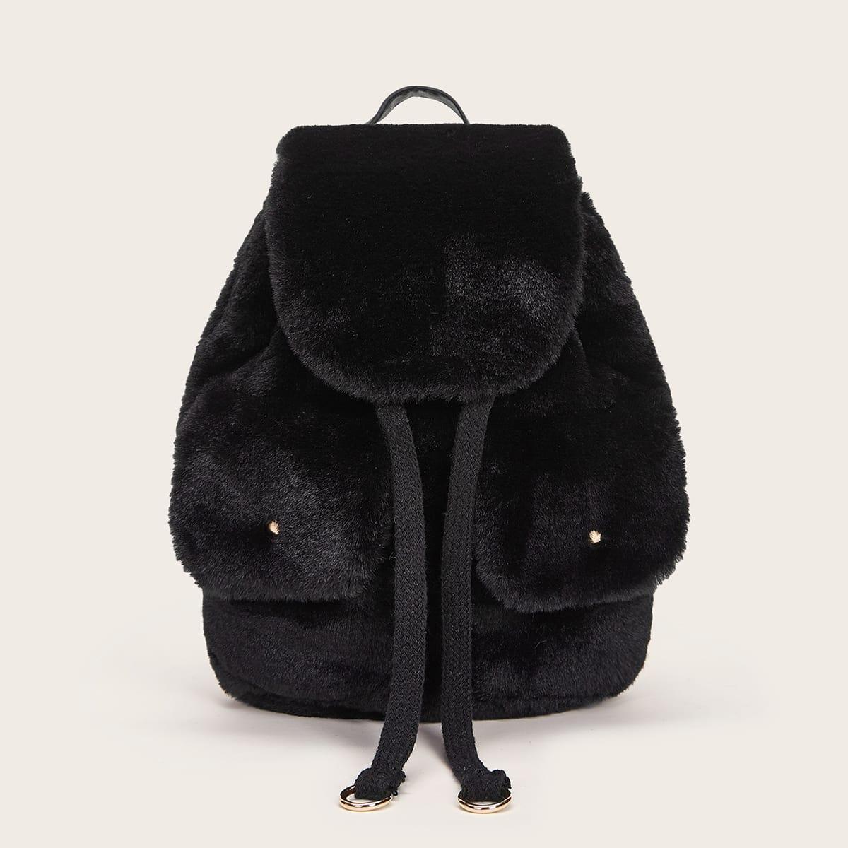 Плюшевый рюкзак с карманом