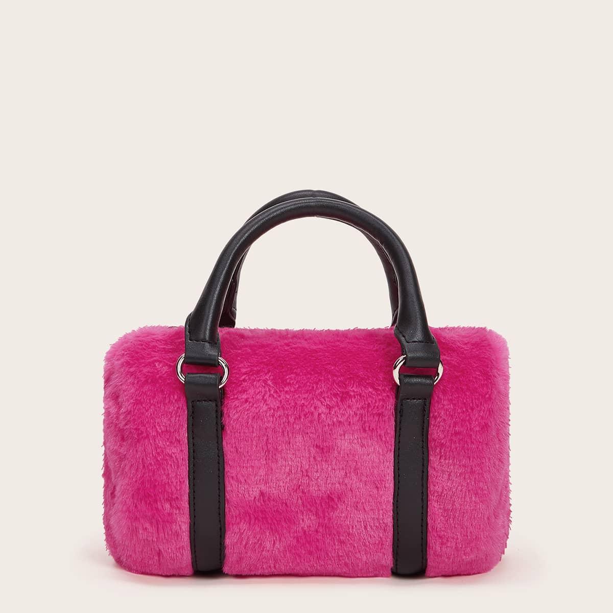 Плюшевая сумка-сэтчел