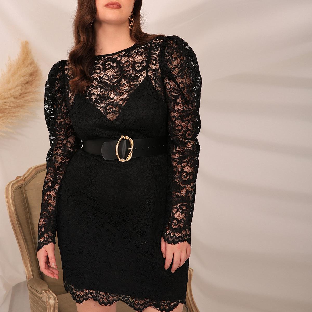 Платье размера плюс 2 в 1 с пышным рукавом без пояса