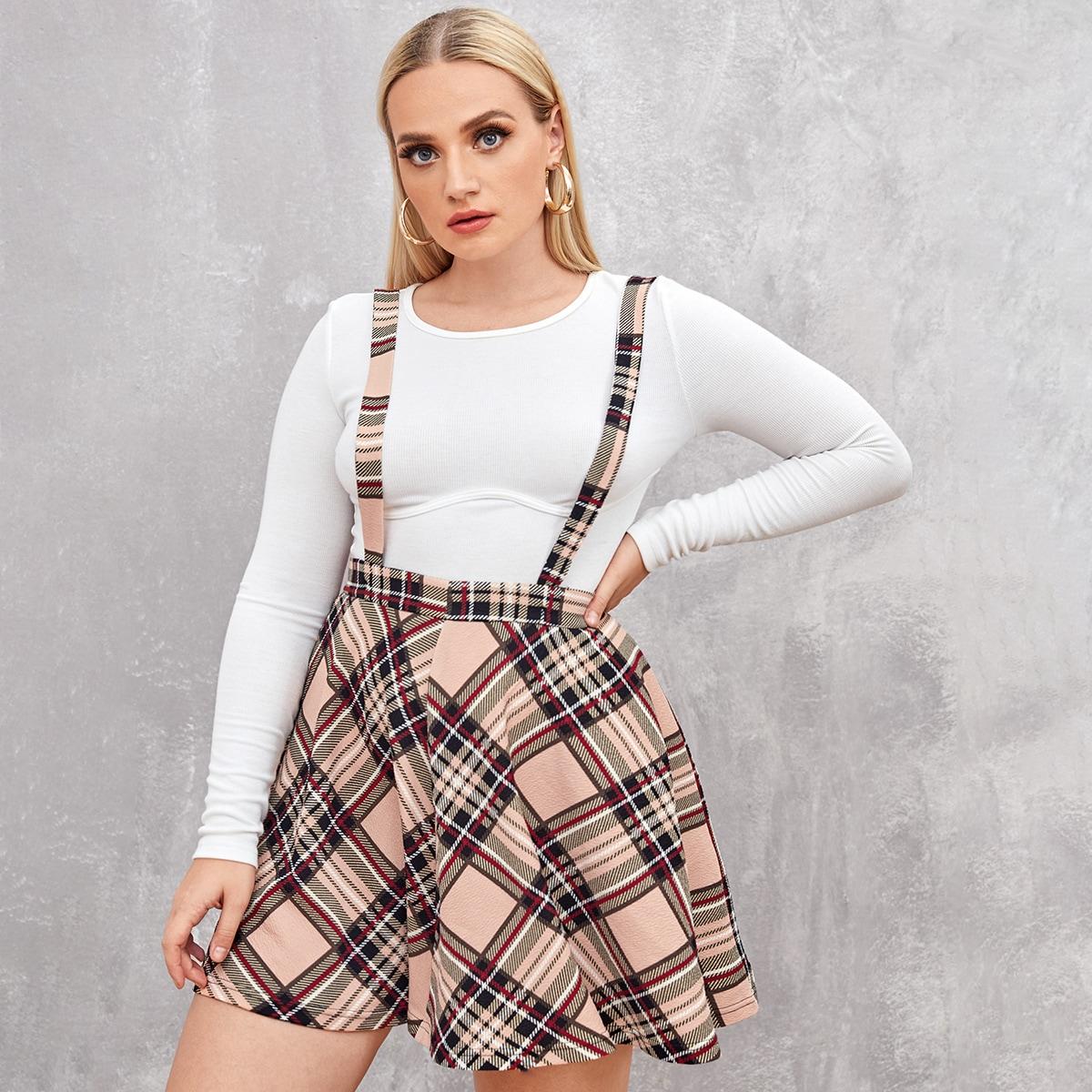 SHEIN / Plus Tartan Skater Pinafore Skirt
