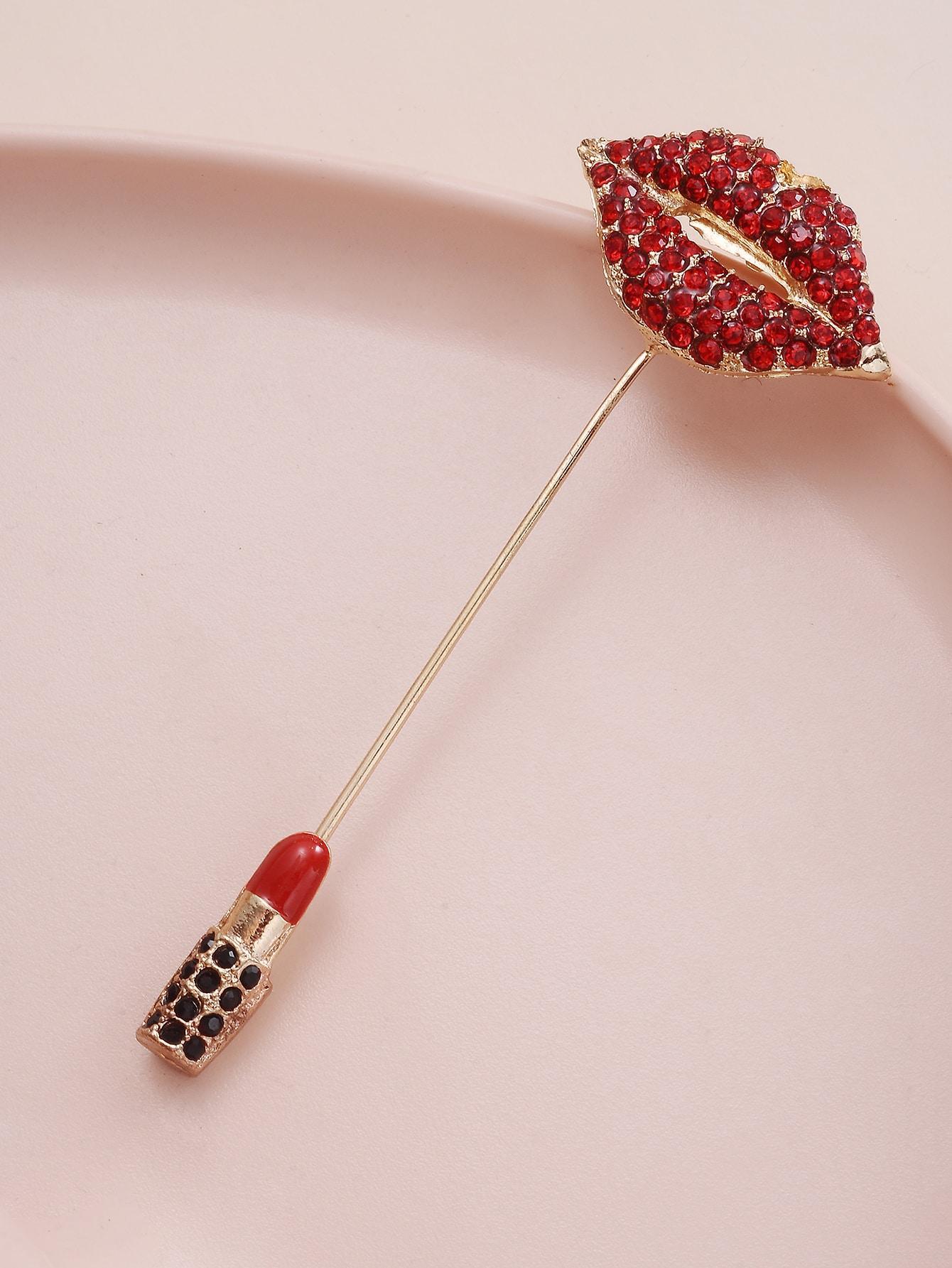 Lips & Lipstick Design Brooch thumbnail