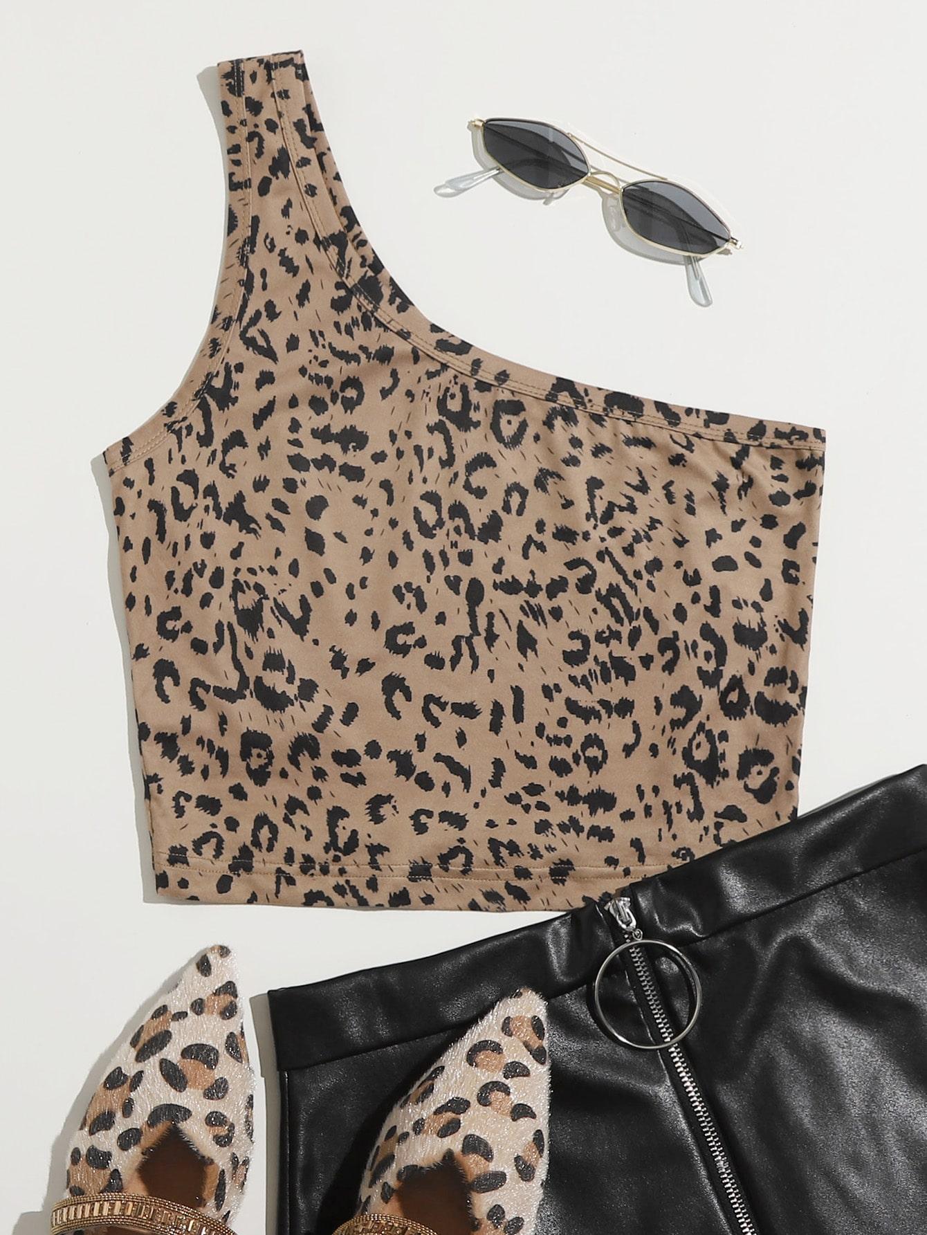 One Shoulder Leopard Top thumbnail