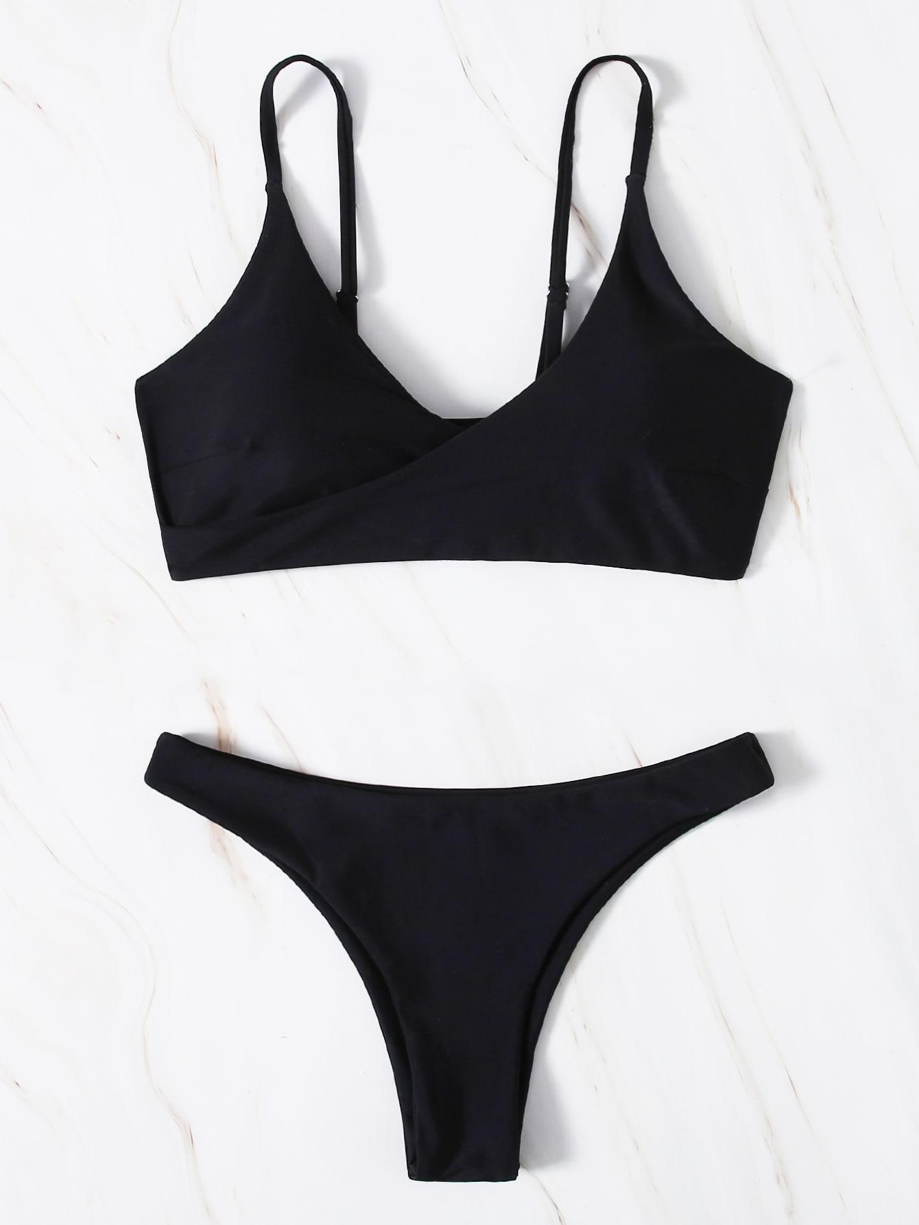 Plain Surplice Neck Bikini Swimsuit thumbnail