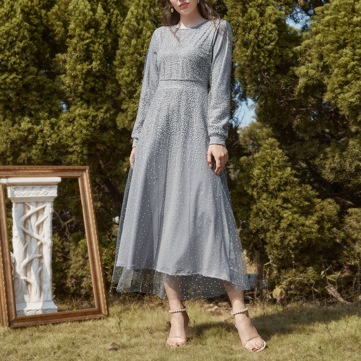 Mesh Overlay Polka Dot A-line Dress