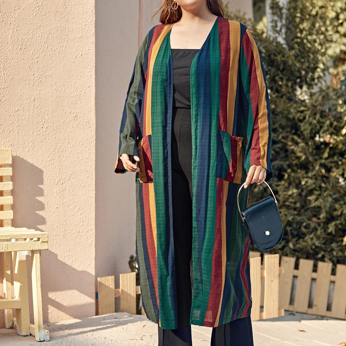 Кимоно размера плюс в полоску с карманом
