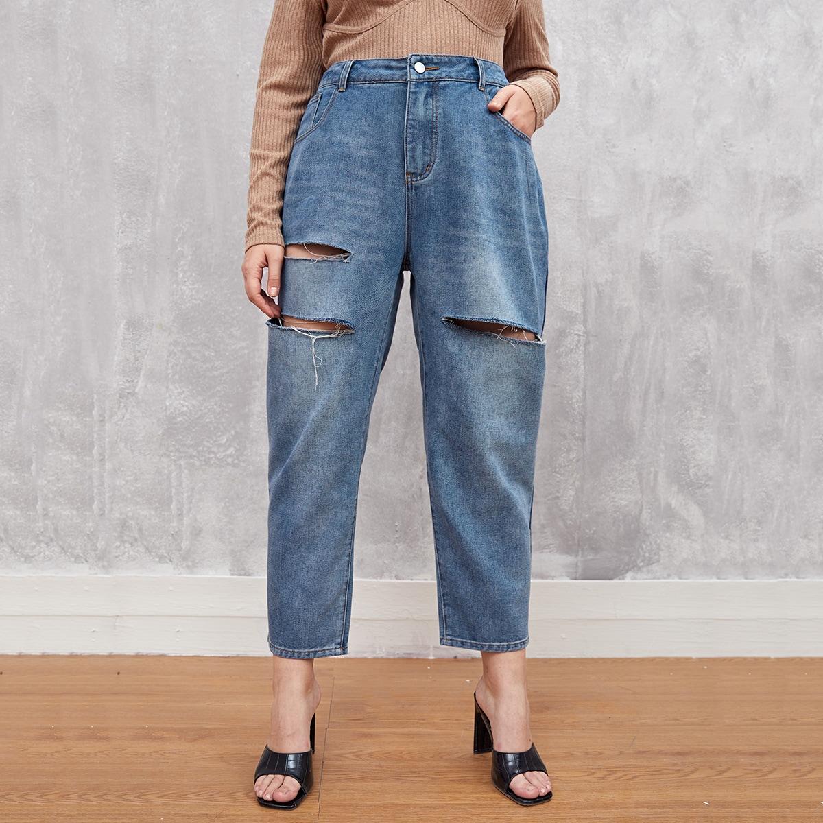Рваные короткие джинсы размера плюс с высокой талией