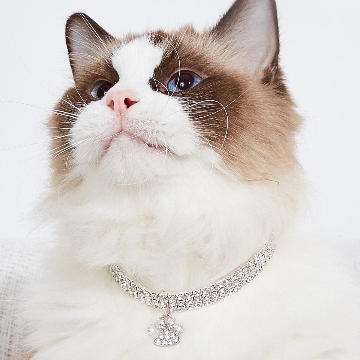 Katze Halskette mit Strass Dekor