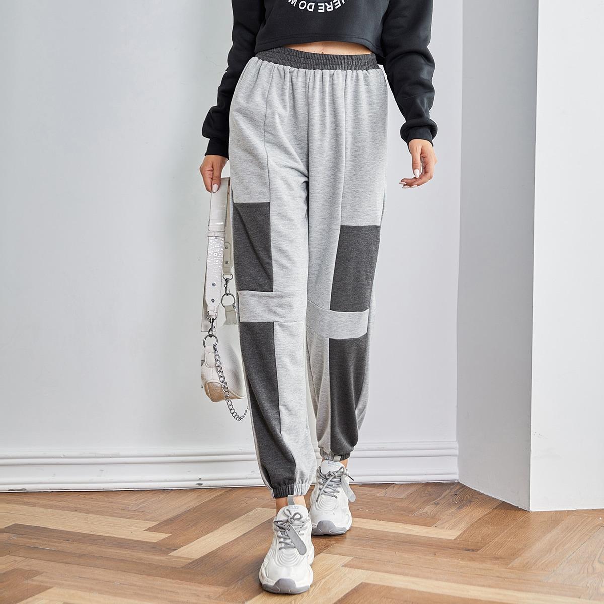 Контрастные спортивные брюки с эластичной талией