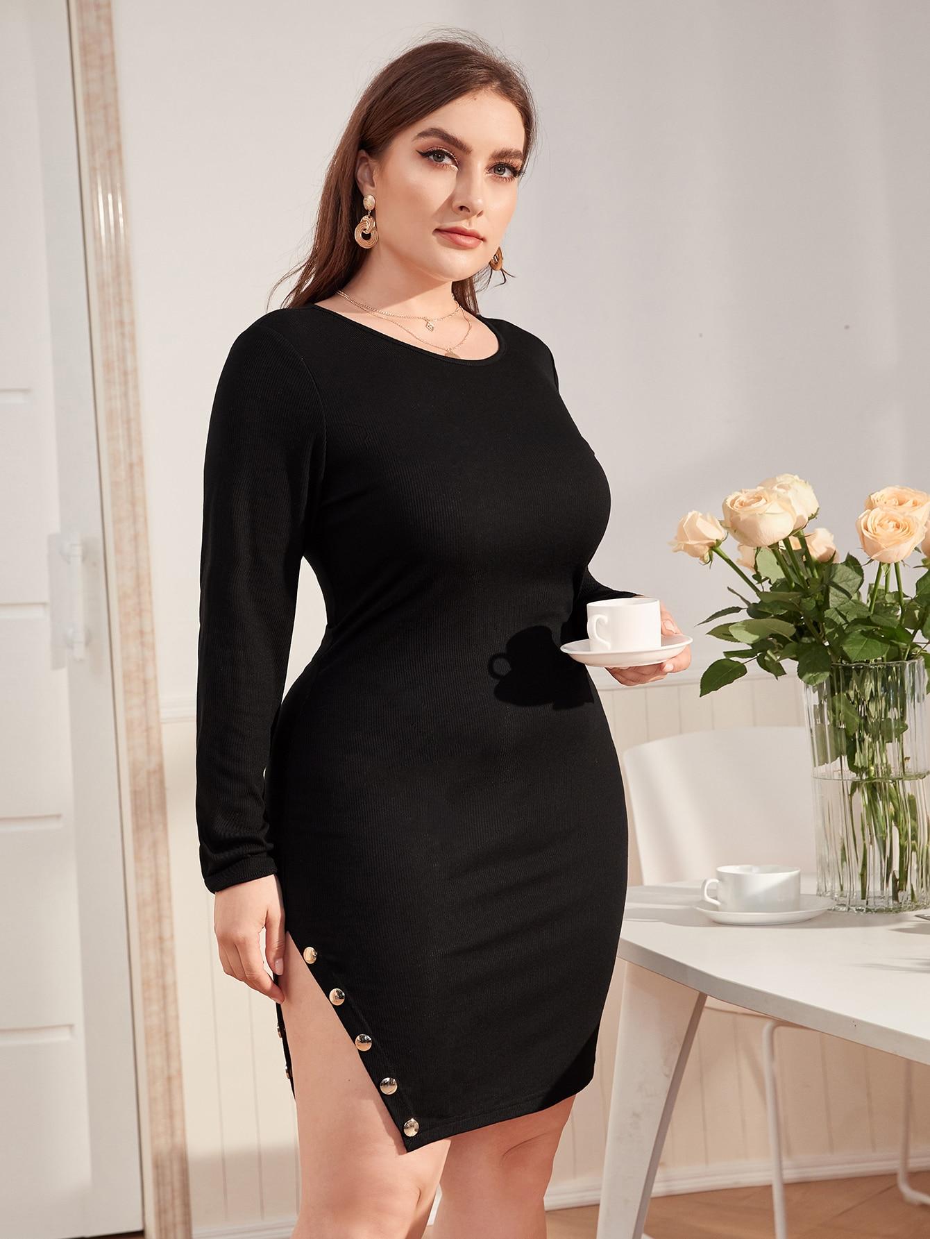 Plus Buttoned Split Side Dress thumbnail