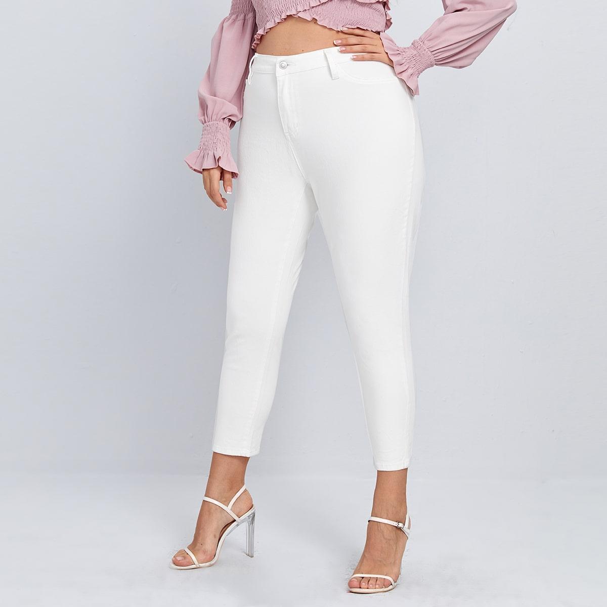 Кроп джинсы размера плюс с высокой талией