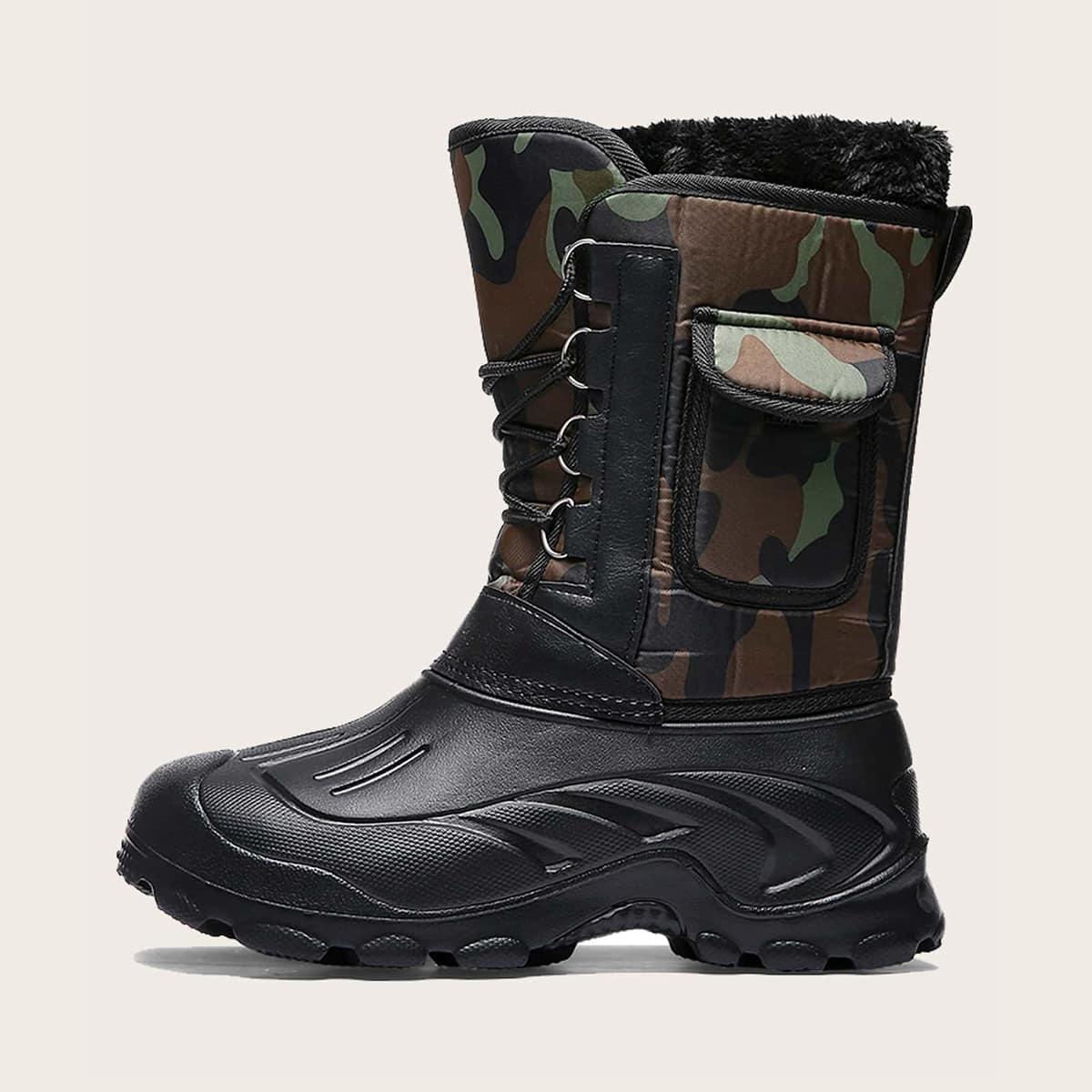 Men Camo Print Warm Snow Boots