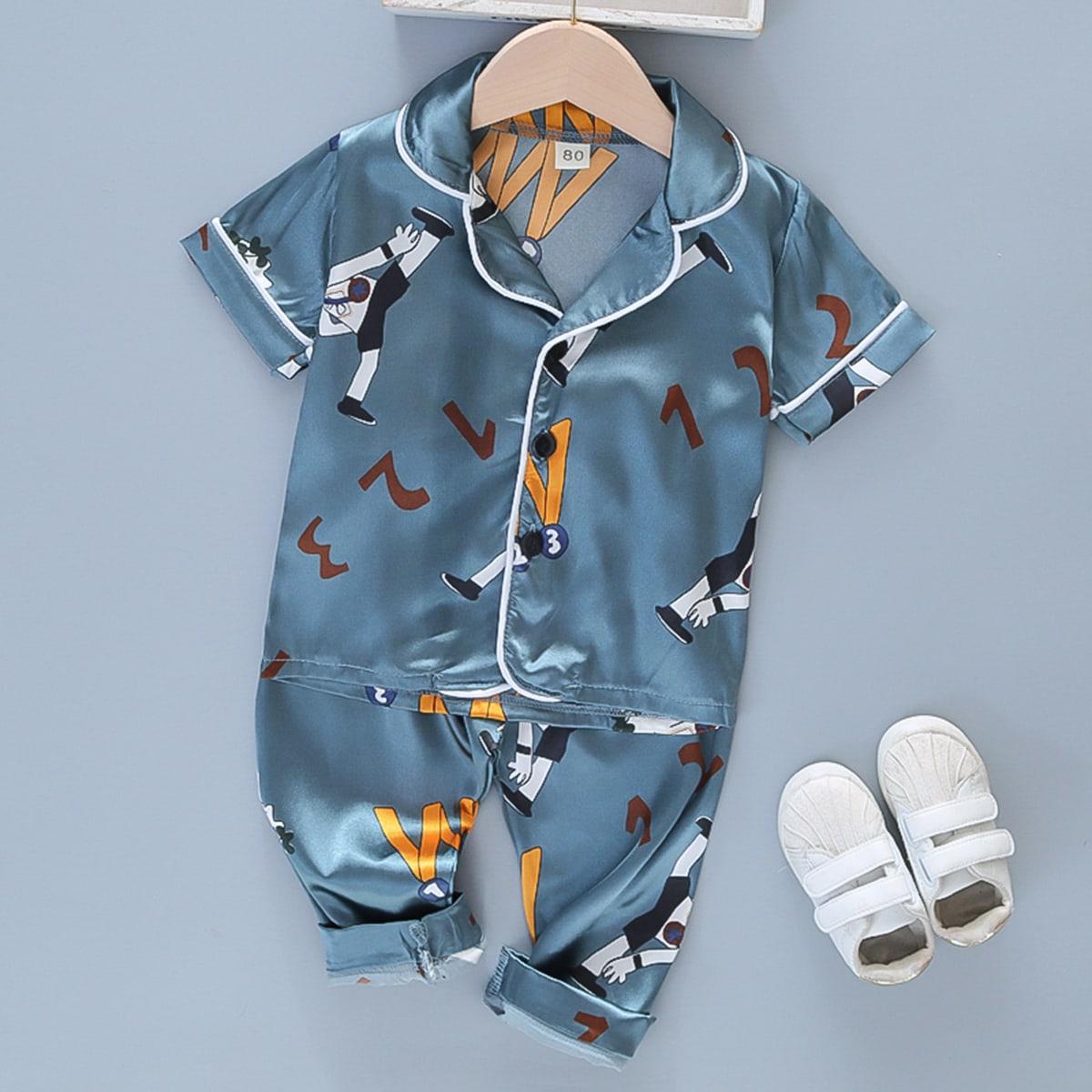 Атласная пижама с оригинальным принтом для мальчиков