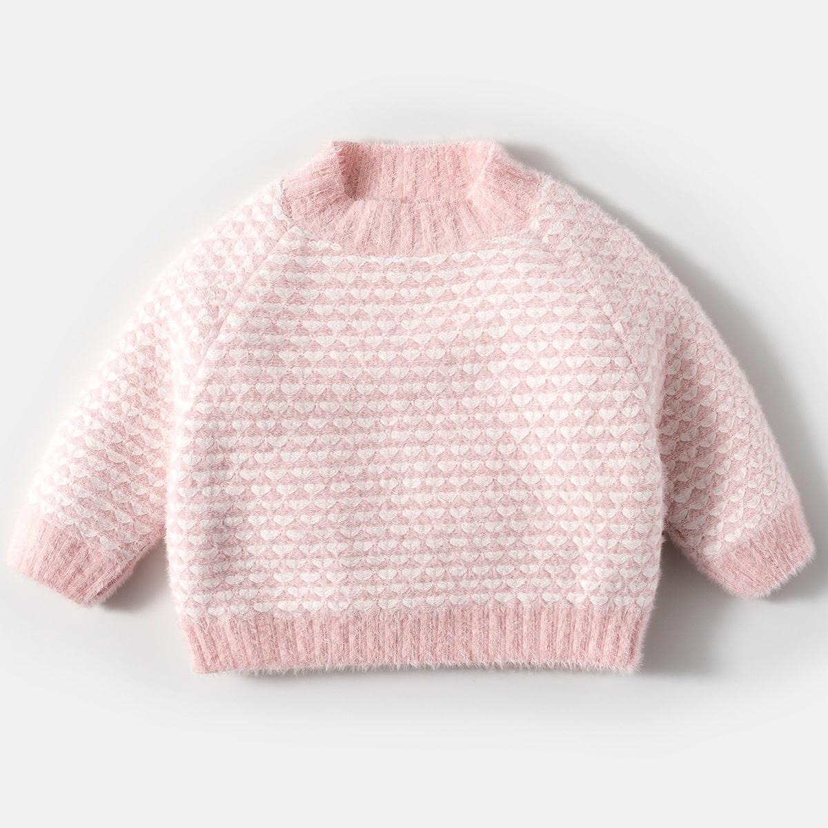 Плюшевый свитер с принтом сердечка для девочек