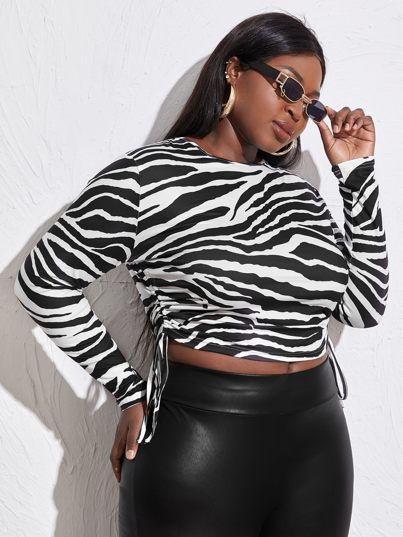 Plus Ruched Drawstring Knot Zebra Stripe Crop Tee thumbnail