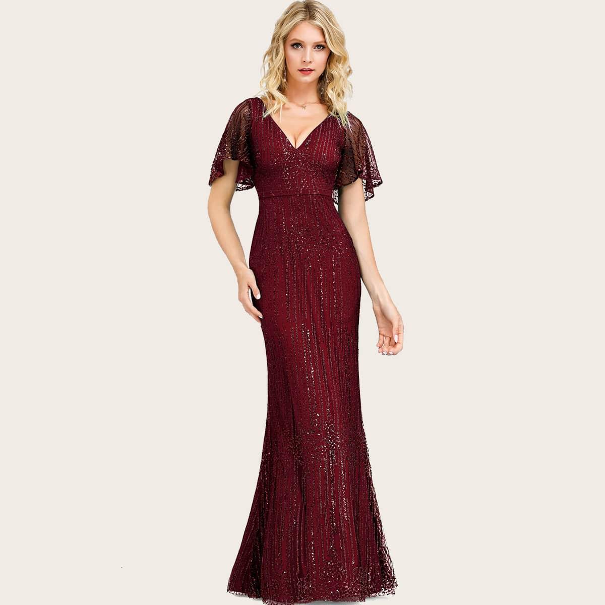 Блестящее сетчатое платье-русалка с оригинальным рукавом
