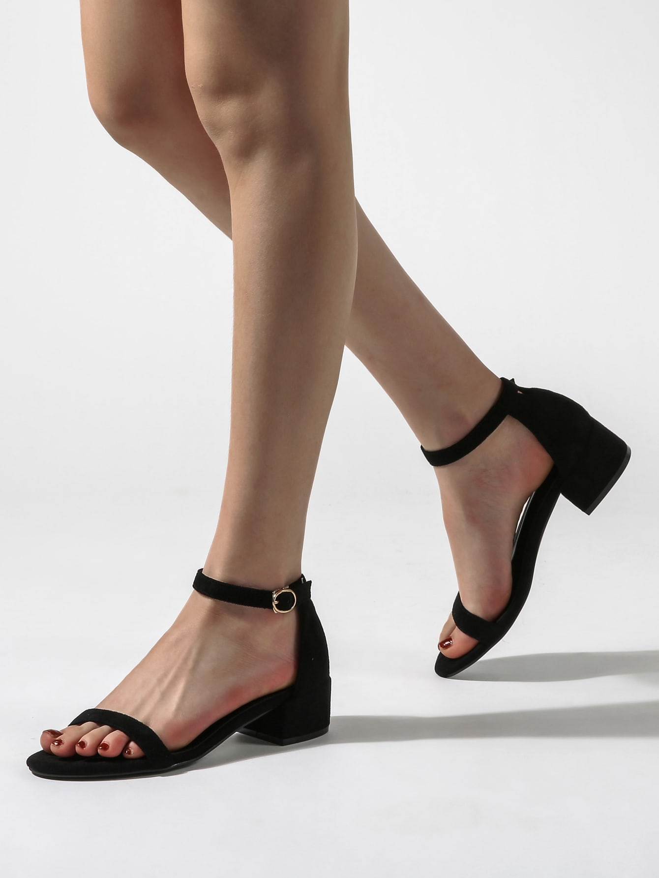 Open Toe Chunky Heeled Ankle Strap Sandals thumbnail