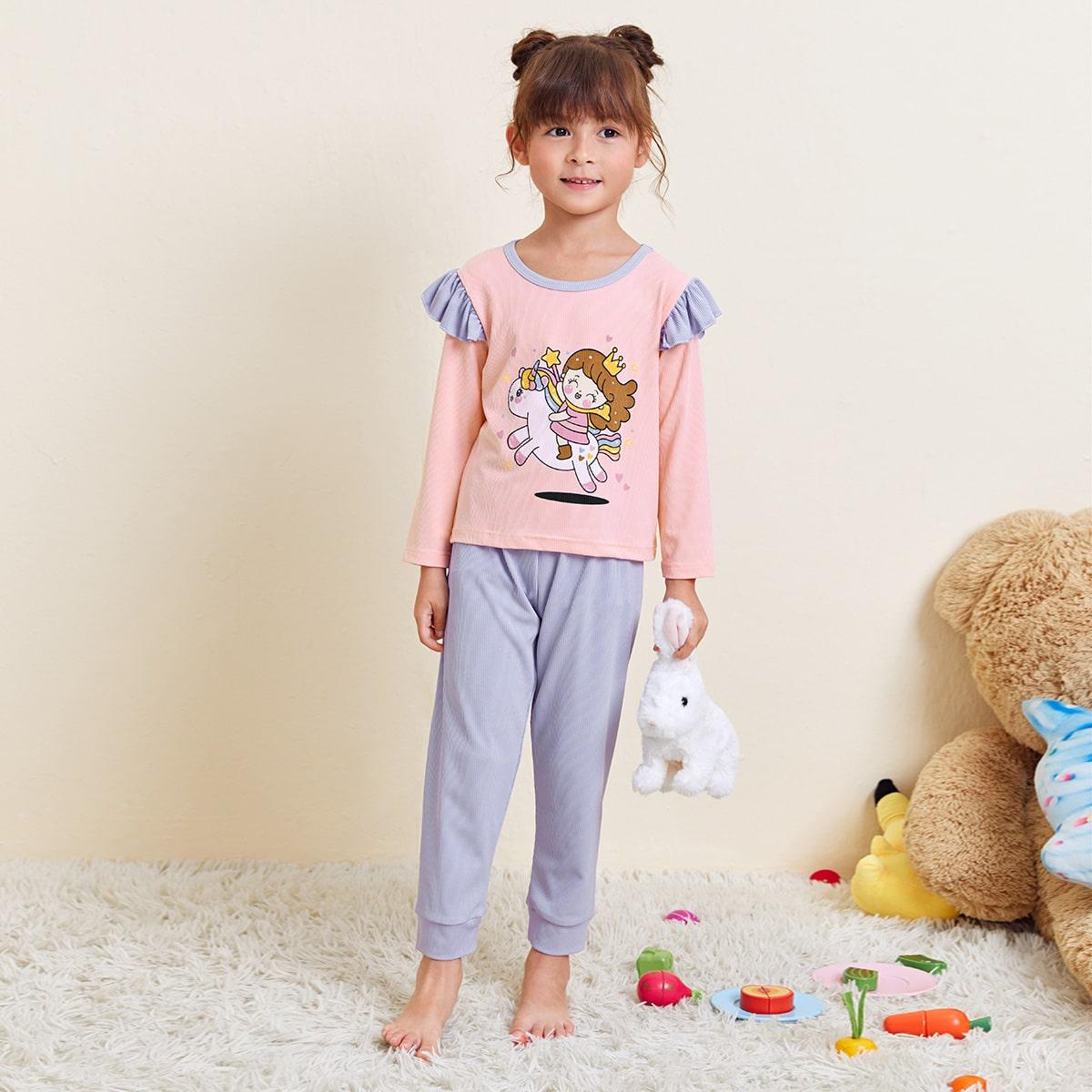 Пижама с мультипликационным принтом и оборкой для девочек