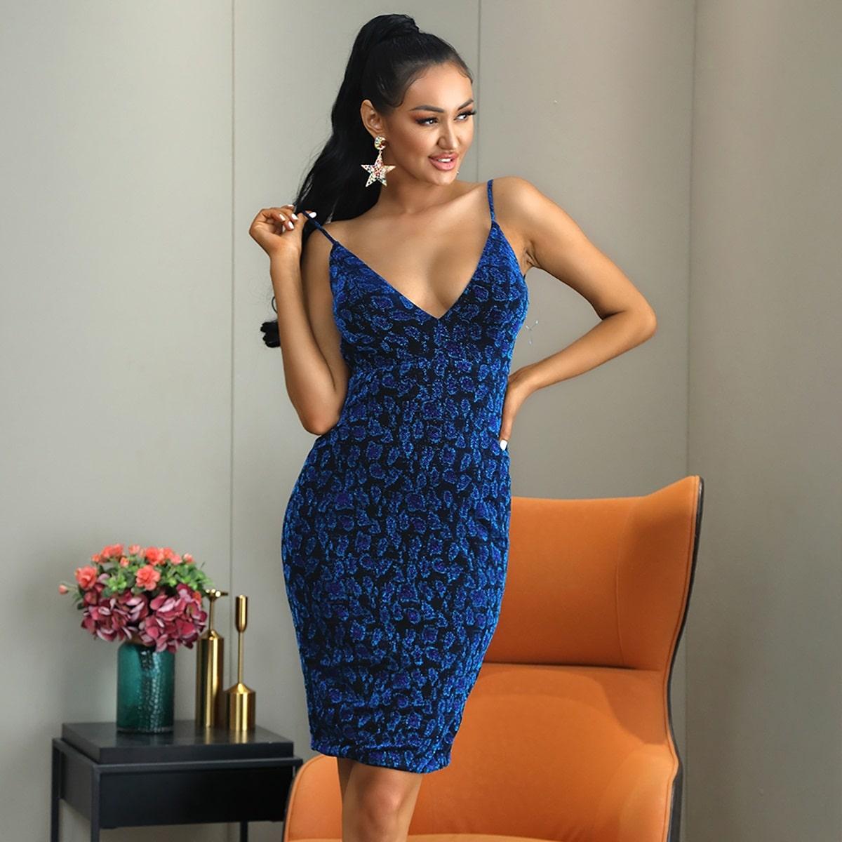 Облегающее платье с принтом и открытой спиной