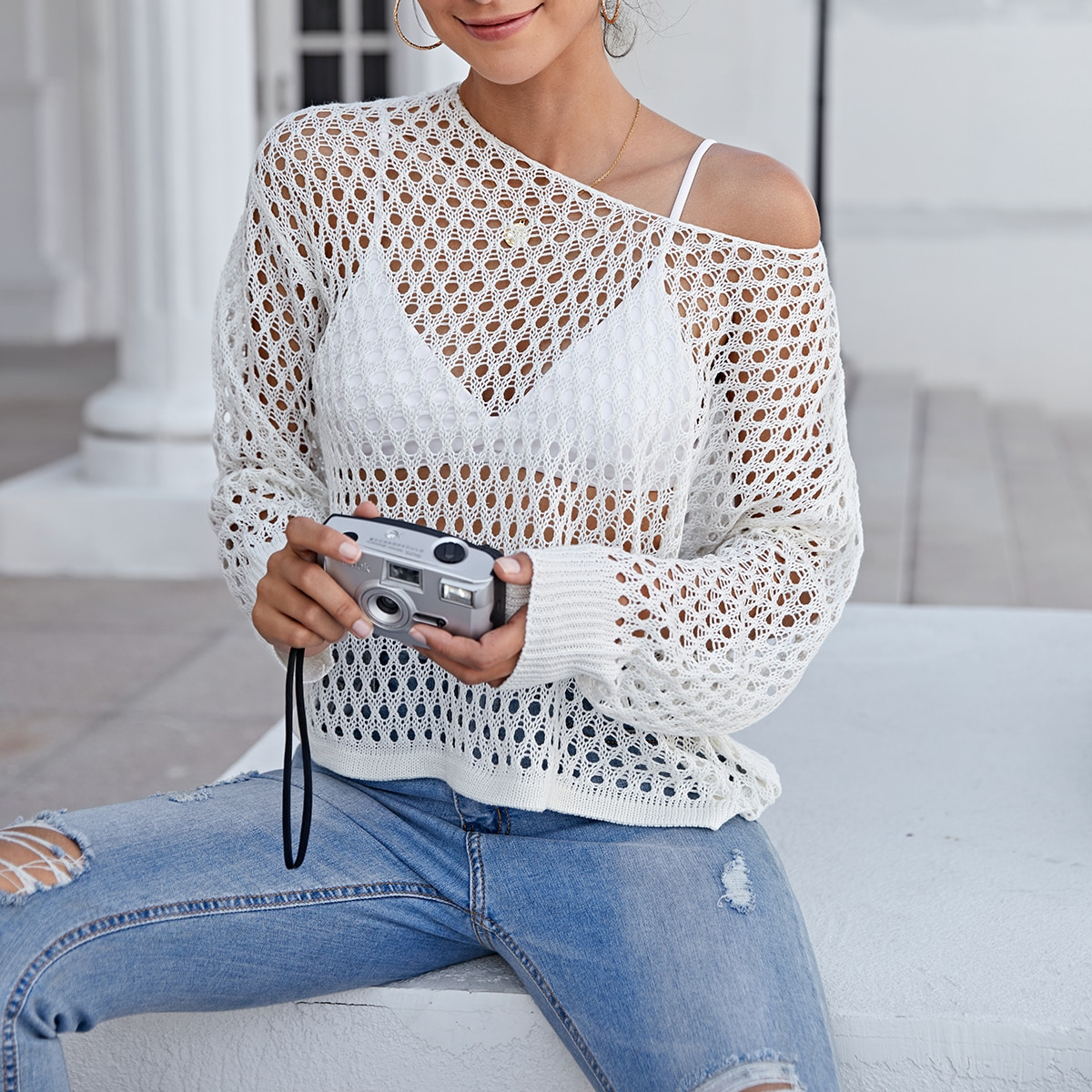 Solid Open Knit Cover Up Without Bra