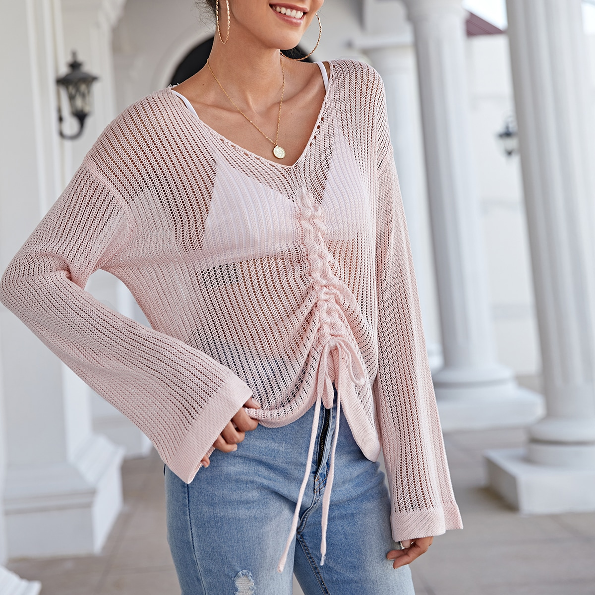 Drop Shoulder Drawstring Front Open Knit Cover Up Without Bra
