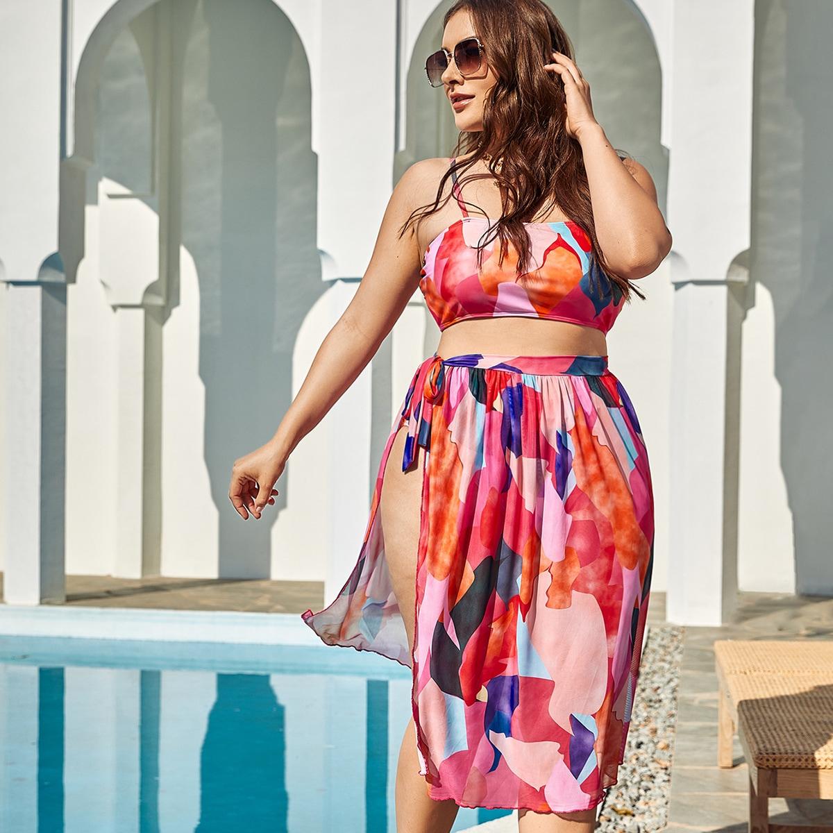 3 пакета бикини размера плюс и пляжная юбка