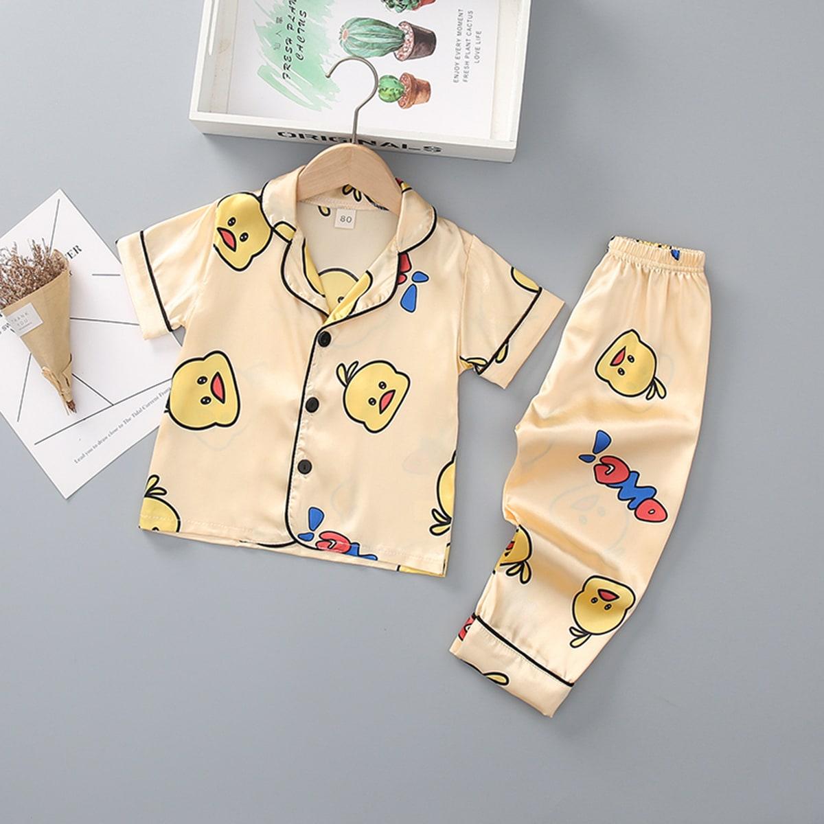 Атласная пижама с мультипликационным принтом для мальчиков