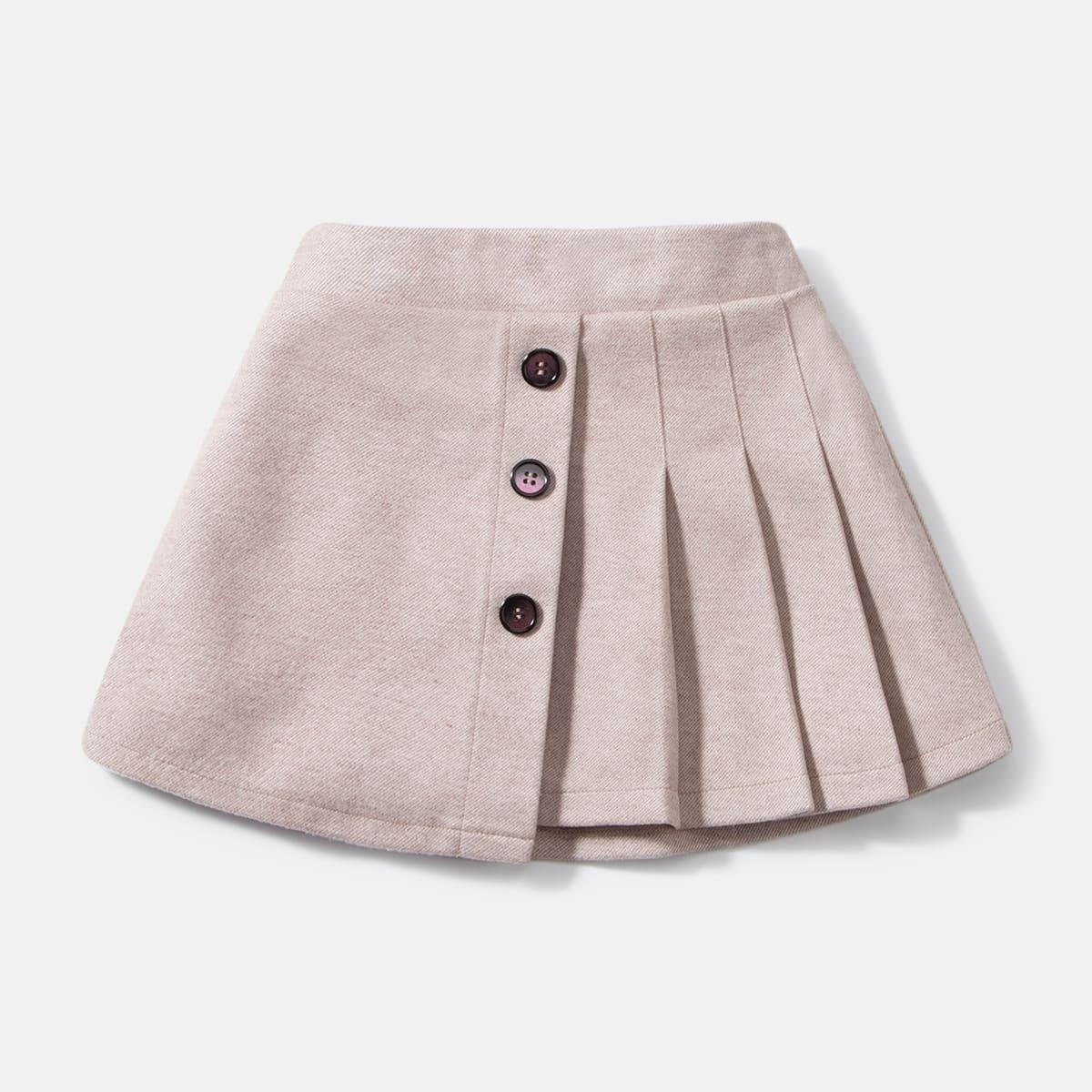 Плиссированная юбка с пуговицами для девочек