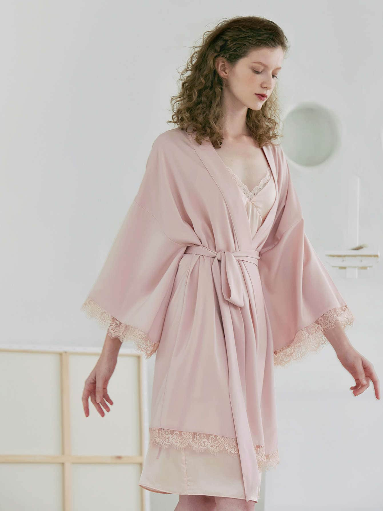 LACE TRIM BELTED NIGHT ROBE WITHOUT SLIPS thumbnail