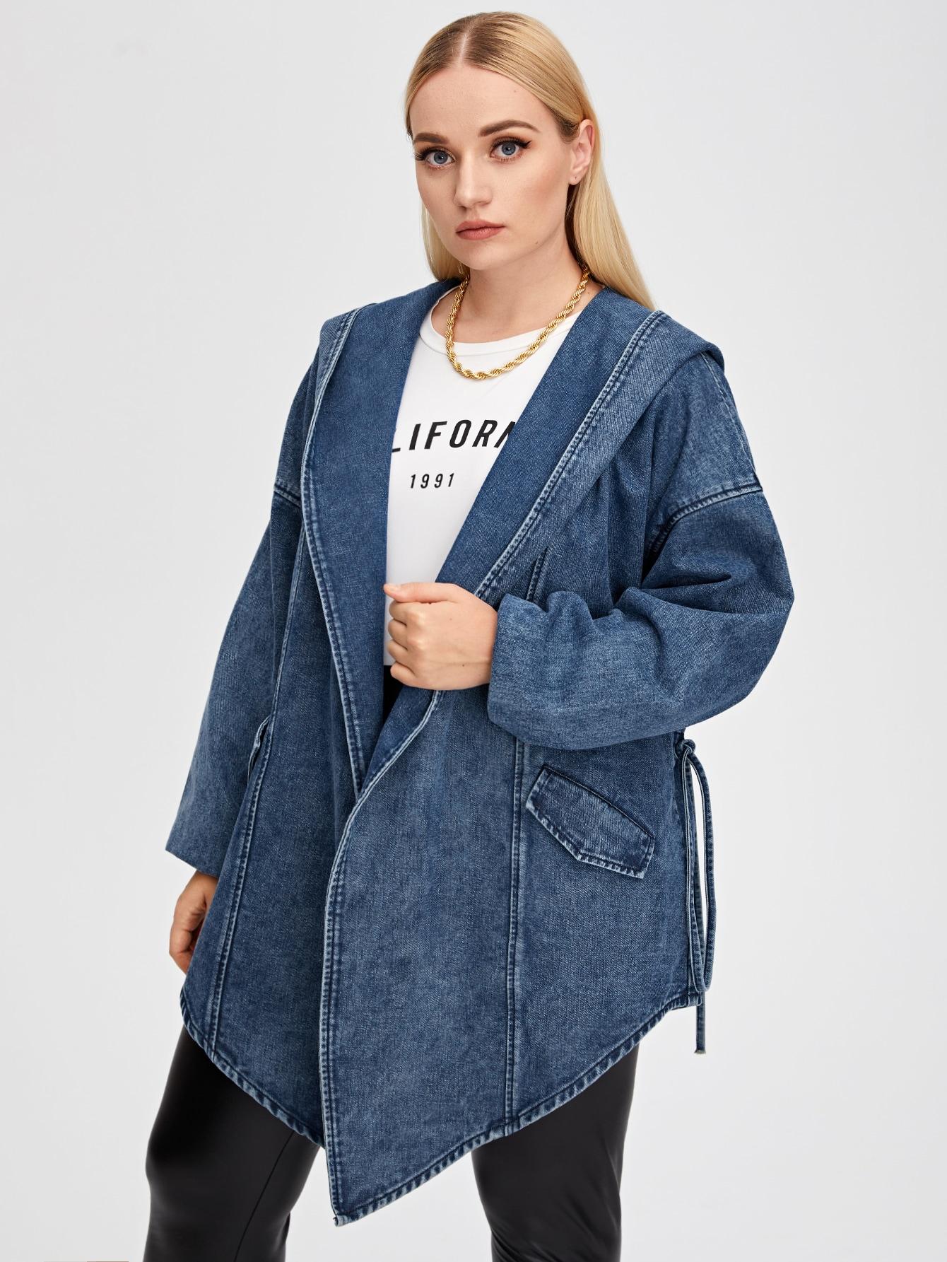 Plus Asymmetric Hem Hooded Denim Coat thumbnail