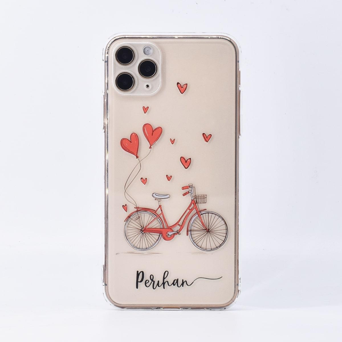 iPhone Etui mit Herzen Ballon & Fahrrad Muster