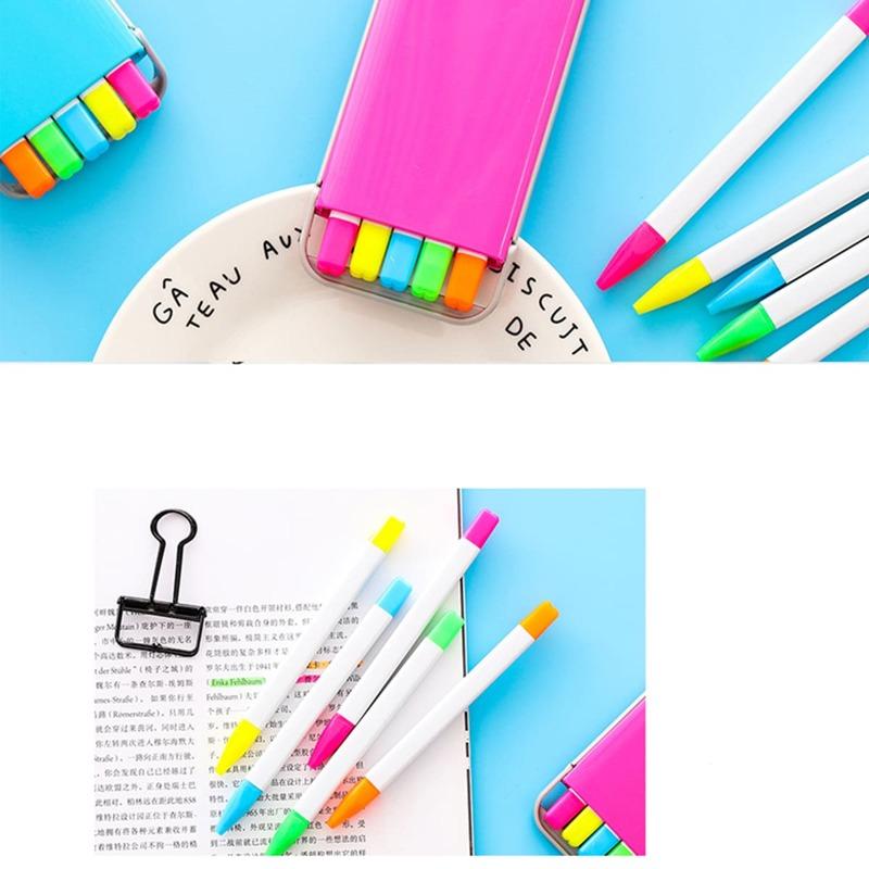 5pcs Random Colorful Highlighter Pen, Multicolor