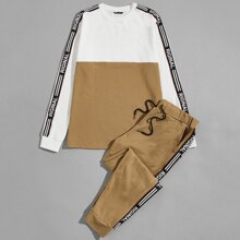 Guys Letter Tape Side Colorblock Pullover & Joggers Set