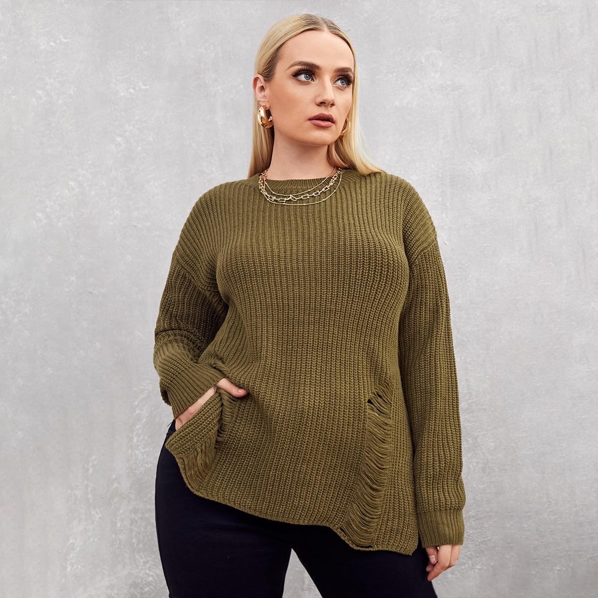 Рваный свитер размера плюс
