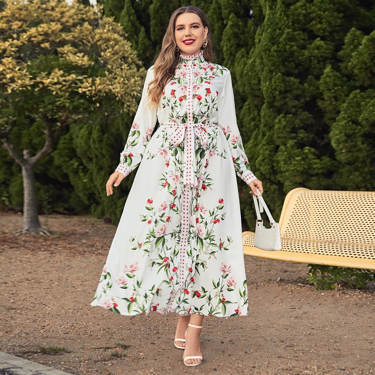Платье-рубашка размера плюс с цветочным принтом и воротником-стойкой