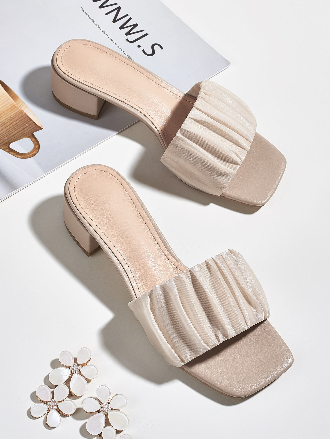 Open Toe Ruched Mule Sandals thumbnail