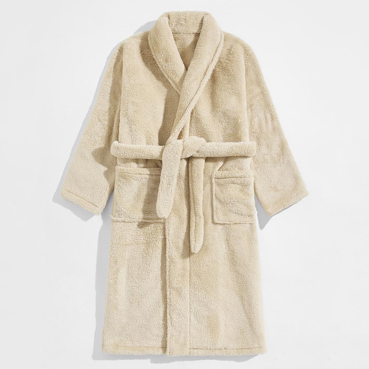 Мужской халат с двойным карманом и поясом