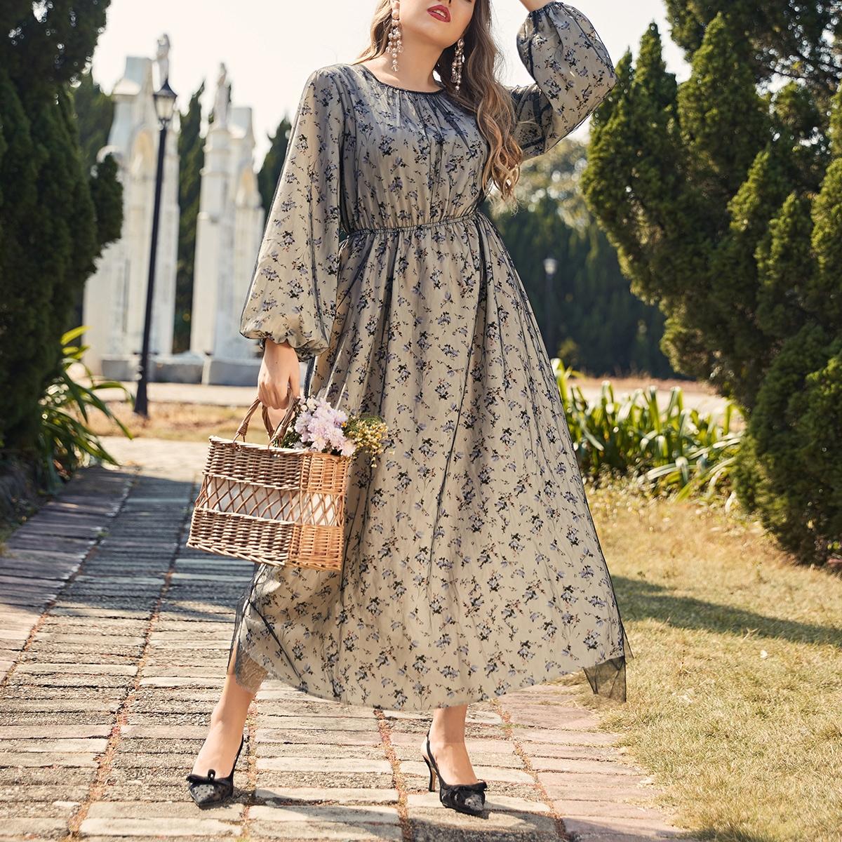 Платье размера плюс с рукавами фонариками и цветочным принтом