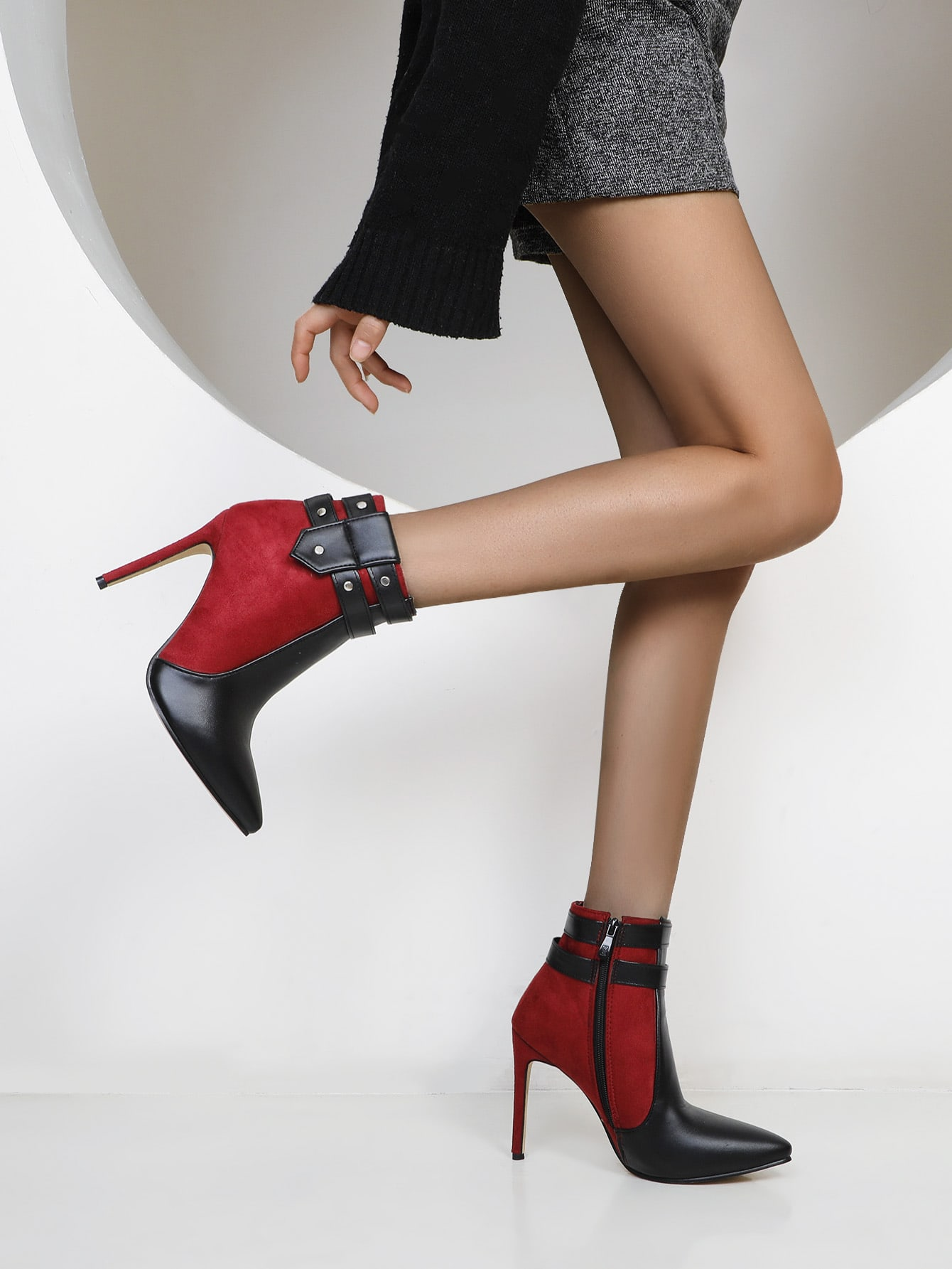 Point Toe Two Tone Stiletto Ankle Boots