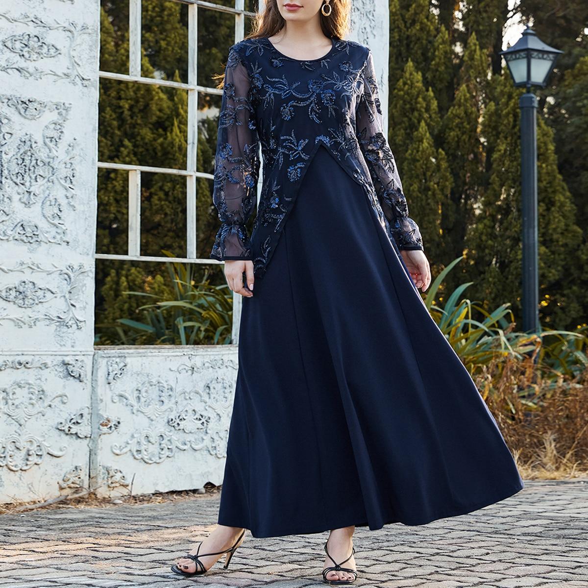 Контрастное платье с сетчатой отделкой