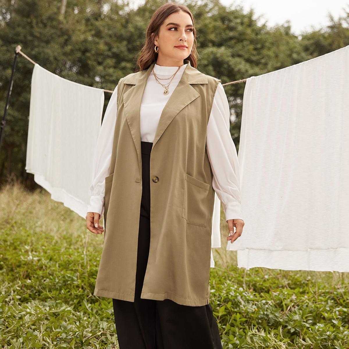 Пальто-жилет размера плюс с лацканами