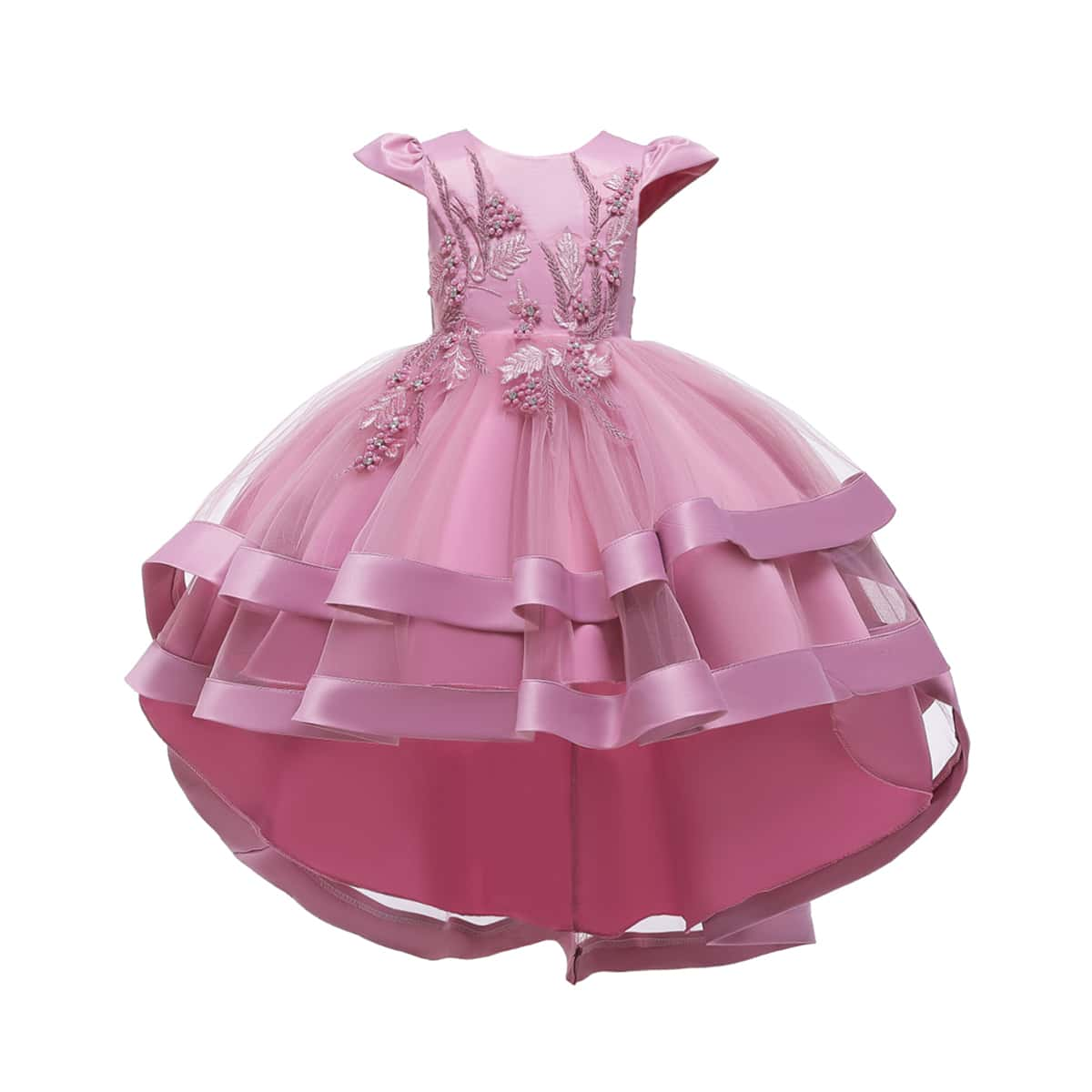 Girls Pearls Layered Mesh Gown Dress