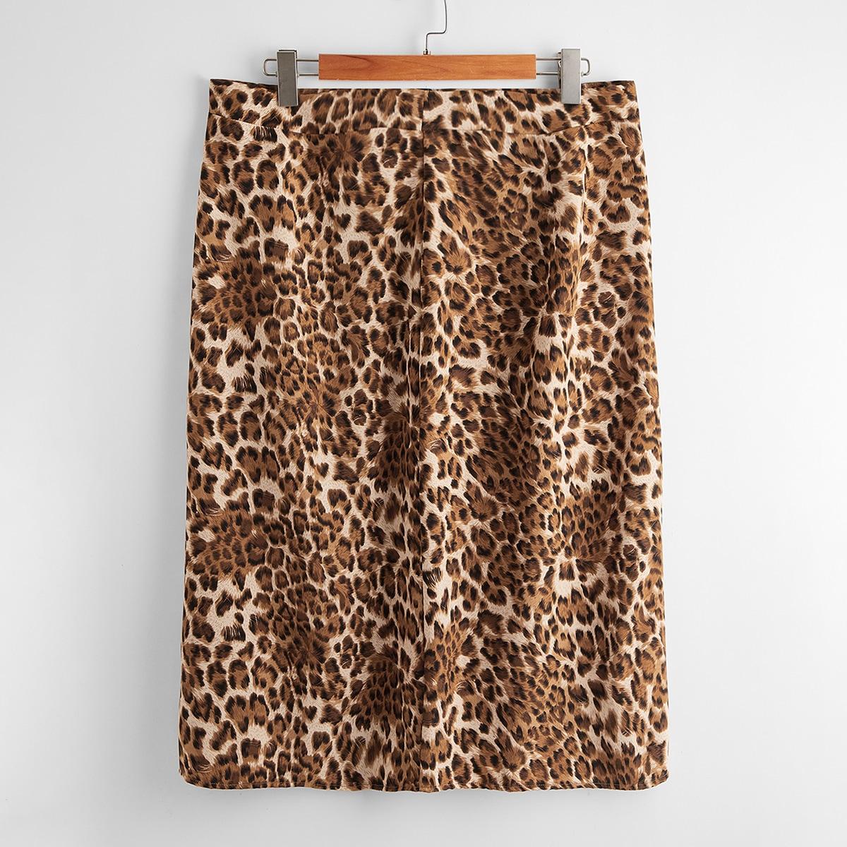SHEIN / Plus Leopard Print Straight Skirt
