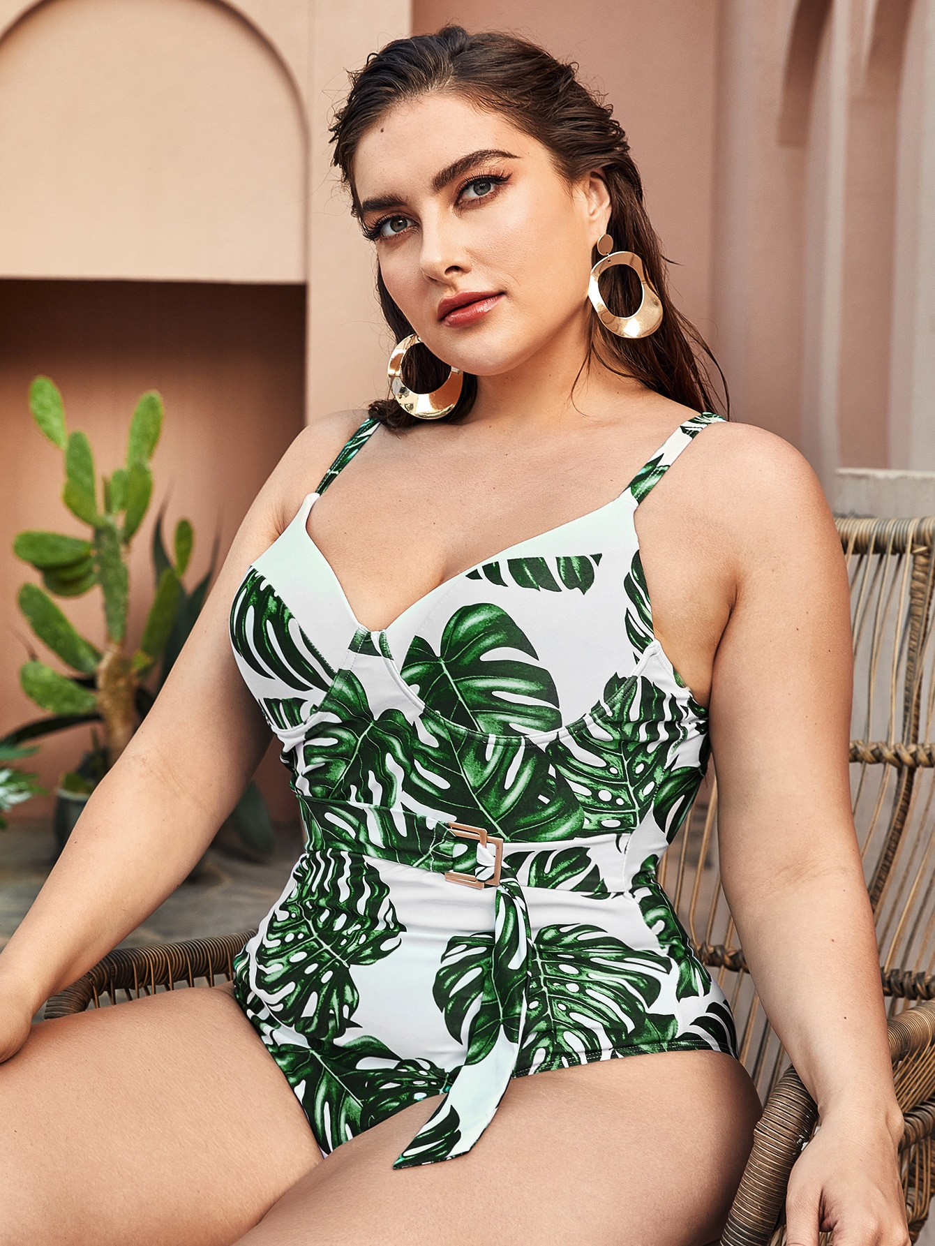 Plus Tropical Buckle Belted One Piece Swimsuit thumbnail