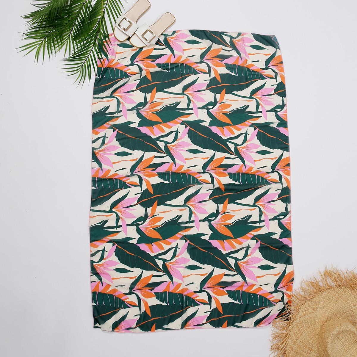 Пляжное одеяло с принтом листьев