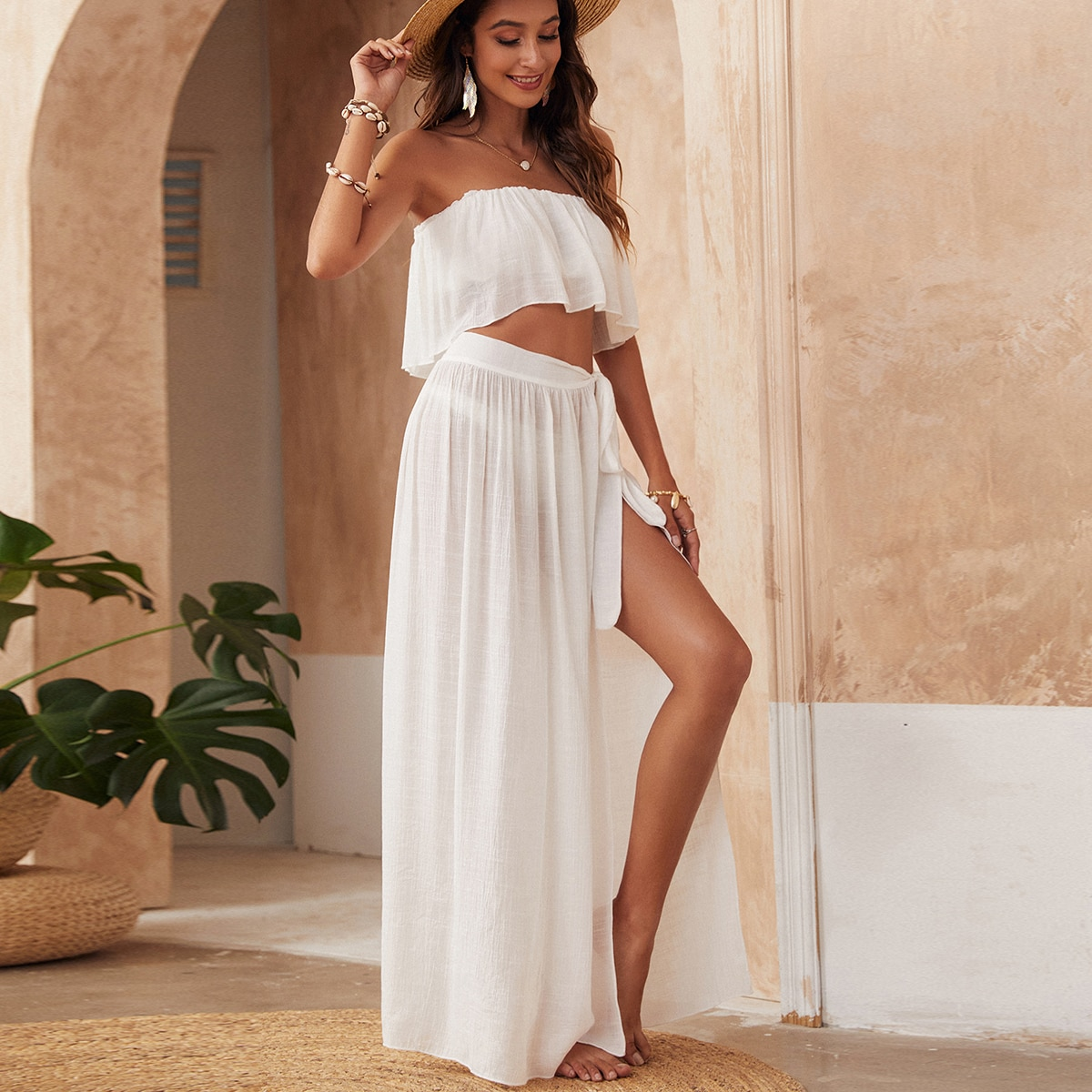 SHEIN / Bandeau Top & Tie Side Skirt Cover Up Set